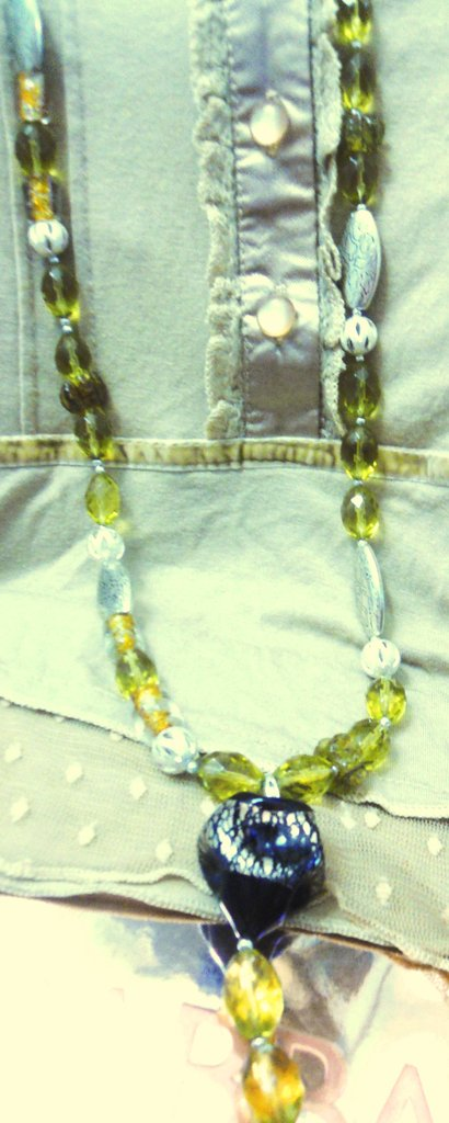 Collana vetro e cristallo ambra/ Amber glass crystal necklace