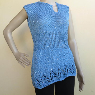 maglia - canotta da donna in cotone e piccole paiette