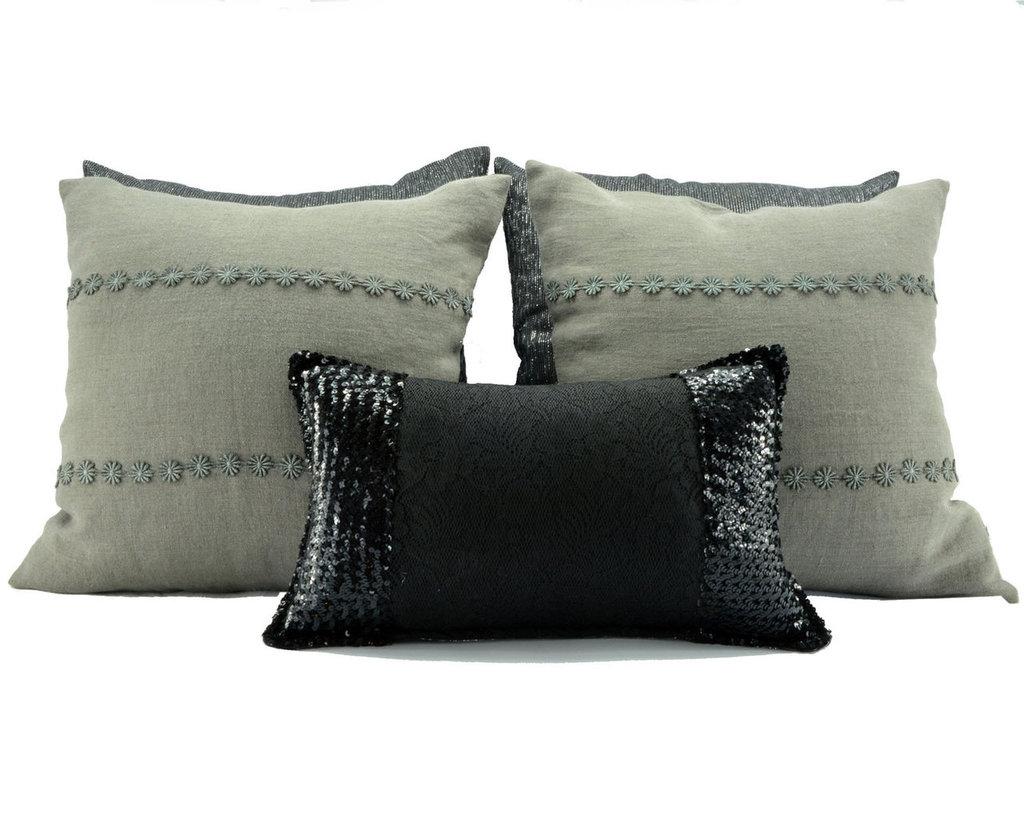 Set cuscini da letto lino e paillettes