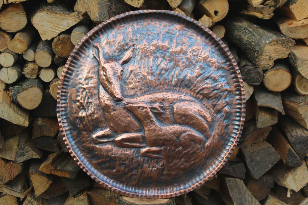 Cerbiatti cervo animali Bambi quadro in rame lavorato a mano