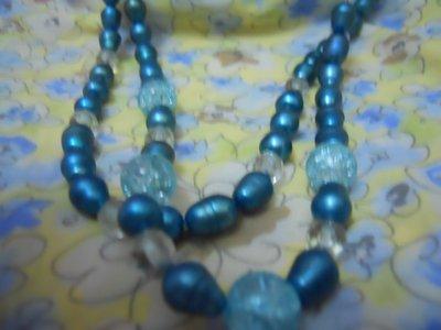 collana perle di fiume ottanio e cristalli
