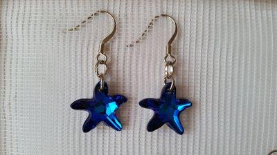 Orecchini pendenti con cristallo sw a forma di stella marina color bermuda blue