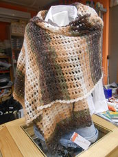 Stola/sciarpa lana, marrone beige sfumato