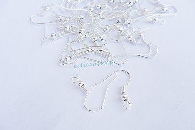 100 pezzi monachelle ganci di orecchini colore argento