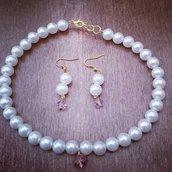 Collana e orecchini perla