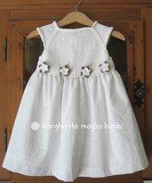 Abito bianco bimba in cotone sangallo, corpetto a maglia, decorazione fiori crochet