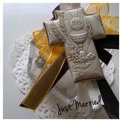 confettata prima comunione, nero e oro, confetti decorati, bomboniera prima comunione