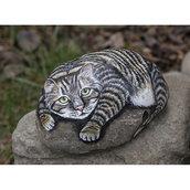 Pietra di fiume dipinta - GATTO TIGRATO che dorme sulla roccia - idea regalo