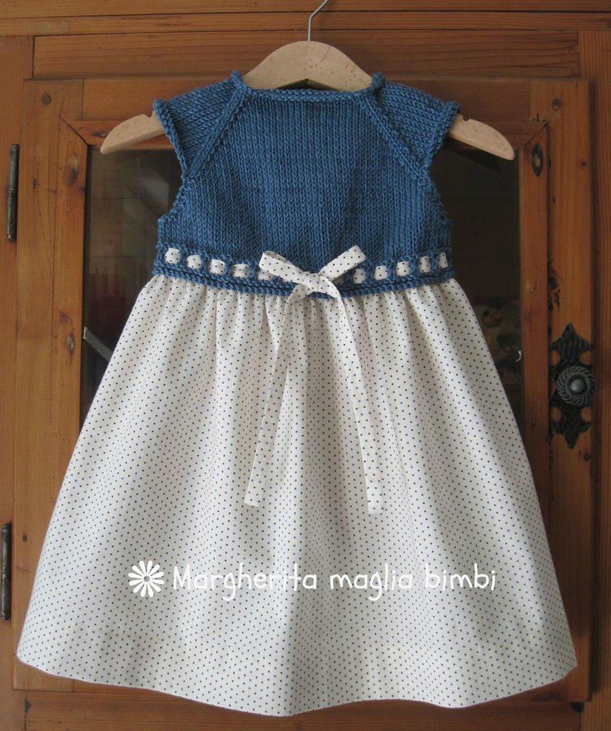 Abito bimba primavera, sprone a maglia blu denim, gonna cotone americano pois