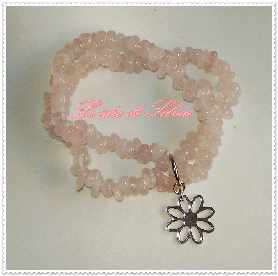 Bracciale elastico con quarzo rosa