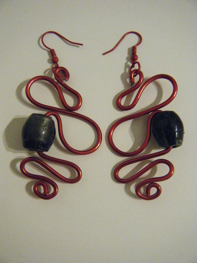 Orecchini Alluminio Rosso_Perla Nera
