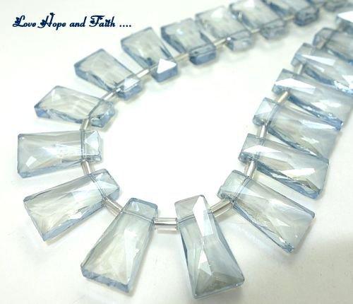 LOTTO 4 perle rettangolari in vetro sfaccettato (20 mm) (cod new)