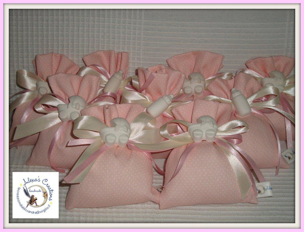 sacchetto bomboniere rosa completa di gessetto per nascita o battesimo