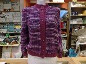 Maglione lana pon pon viola