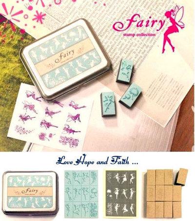 """1 Box 12 timbrini """"Fairy"""" in legno e gomma (cod. nuovo)"""