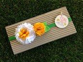 Fascia elastica a fiori primaverale giallo e bianco by Little Rose Handmade