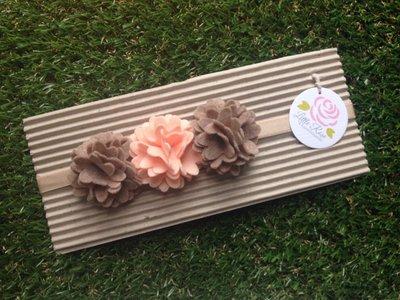 Fascia elastica a 3 fiori stile pom pom per capelli by Little Rose Handmade