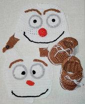 """Cappellino,Bavaglino e Mocassini """"OLAF"""" uncinetto"""