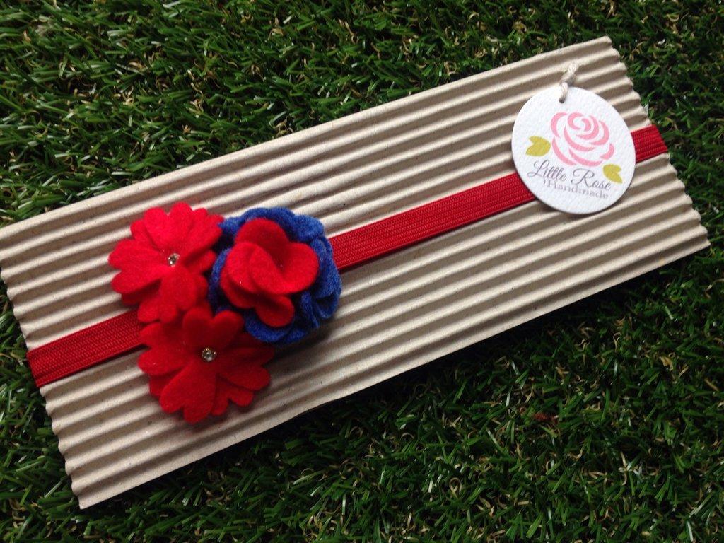 Fascia elastica per capelli a fiorellini by Little Rose Handmade