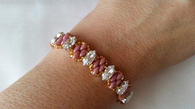 Braccialetto con superduo rosa e navette di cristallo