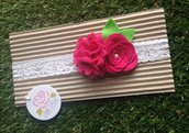 Fascia elastica in pizzo con fiore e rosellina by Little Rose Handmade