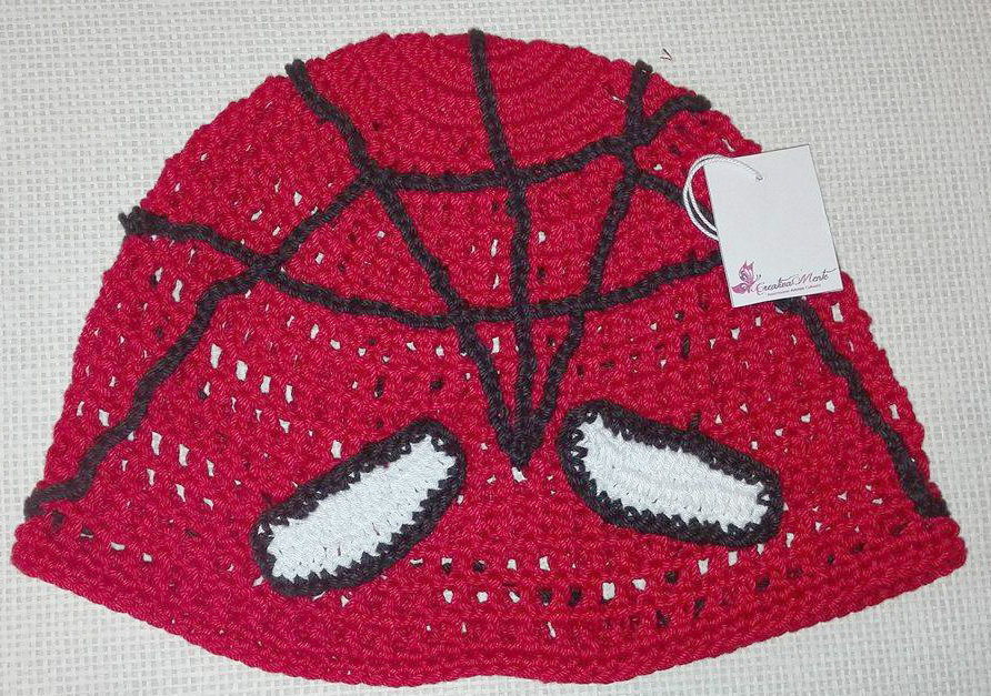 "Cappello Uncinetto ""SPIDERMAN"" 4/6 anni"