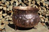 Vaso uva melograno granoturco spighe natura in rame lavorato a mano