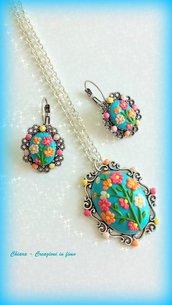Parure in fimo handmade elegante con fiori in rilievo idea regalo donna idea regalo Festa della mamma