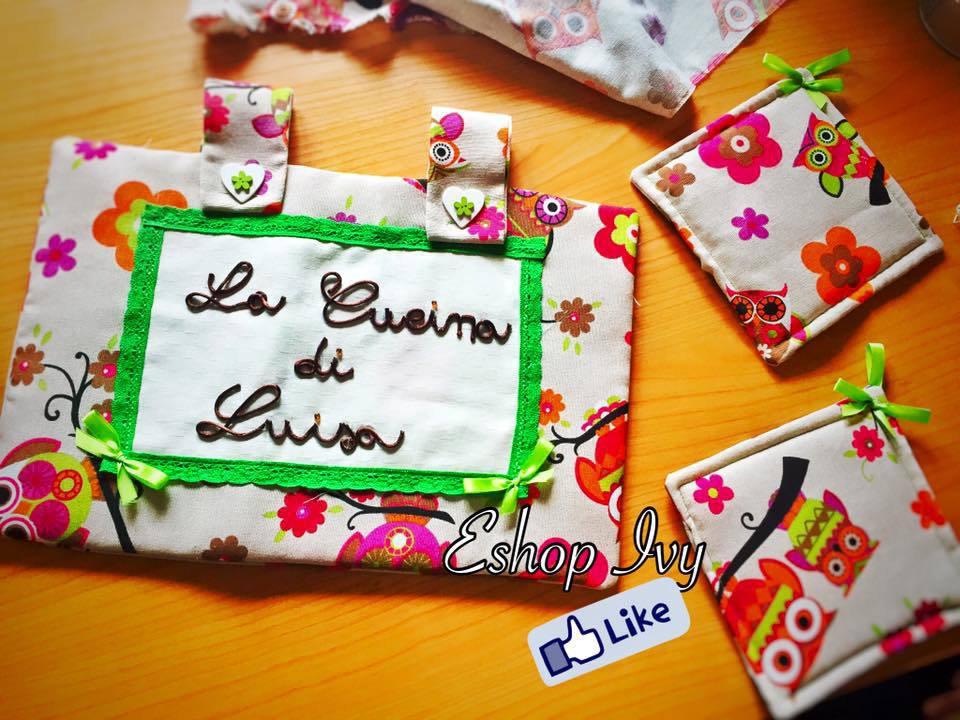 COPRIFORNO PERSONALIZZATO CON SCRITTA + PRESINE idea regalo festa della mamma con gufetti