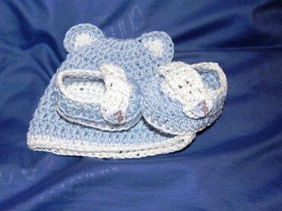 Scarpine scarpette mocassini cappellino  neonato bebè uncinetto crochet