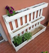 Fioriera bianca da riuso bancale pallet,per giardino o terrazza - piante, fiori e orto in casa