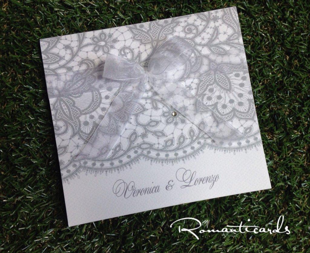 Partecipazione di Matrimonio in stile pizzo Modello Burano by Romanticards