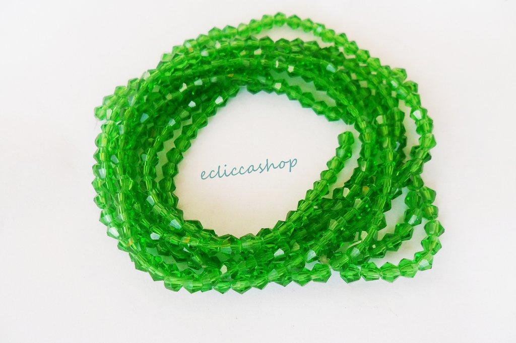 Perlina bicono semicristallo 4 mm Verde 60 PZ