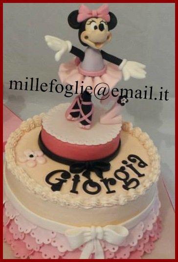Decorazione torta minnie topolina ballerina in pasta di for Decorazione torte millefoglie