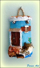 """Tegola decorata a mano """"casetta sul mare"""""""