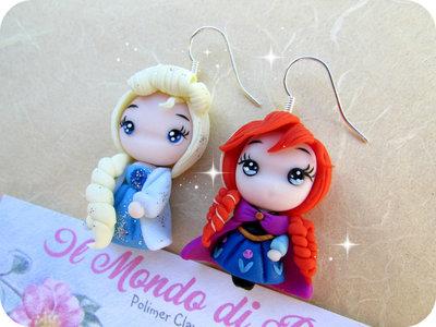Orecchini Elsa e Anna Frozen in Fimo