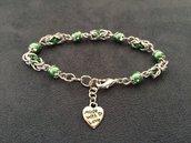 Bracciale chainmail micro bizantina verde argento