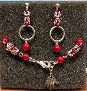 Set bracciale + orecchini chainmail microbizantina argento e rosso