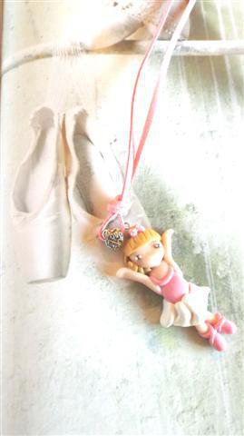 JUST DANCE  - fimo - COLLANA   - BALLERINA danza classica ROSA  - idea regalo compleanno comunione