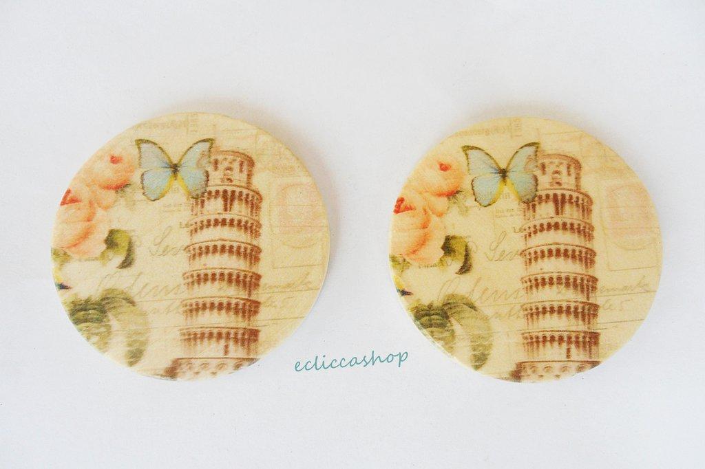 Medaglione ciondolo GRANDE in legno 45 mm 1pz