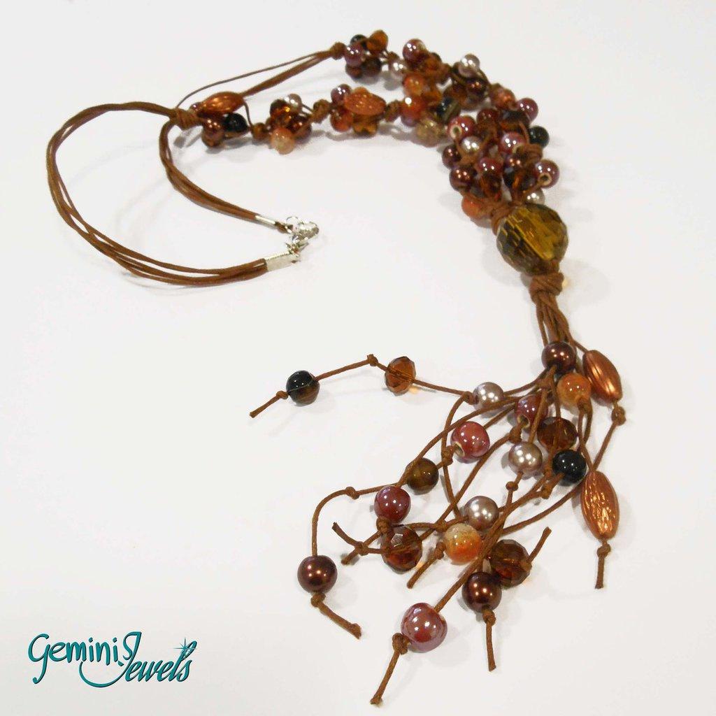 Collana in corda mix di perline marroni