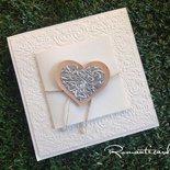 Partecipazione di matrimonio con chiusura a cuore Modello Lucca by Romanticards