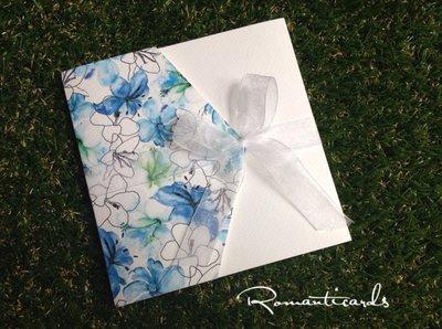 Partecipazione di Matrimonio stilo aquarella blue Modello Ischia by Romanticards