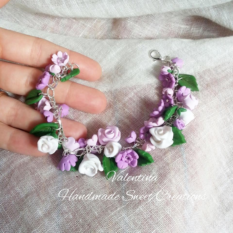 Bracciale floreale rosa lilla bianco