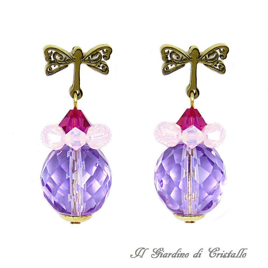 Orecchini con perni libellula mezzi cristalli lilla e Swarovski rosa opale fatti a mano - Surfinia