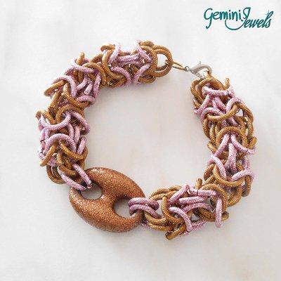 Bracciale Chainmail rosa e marrone