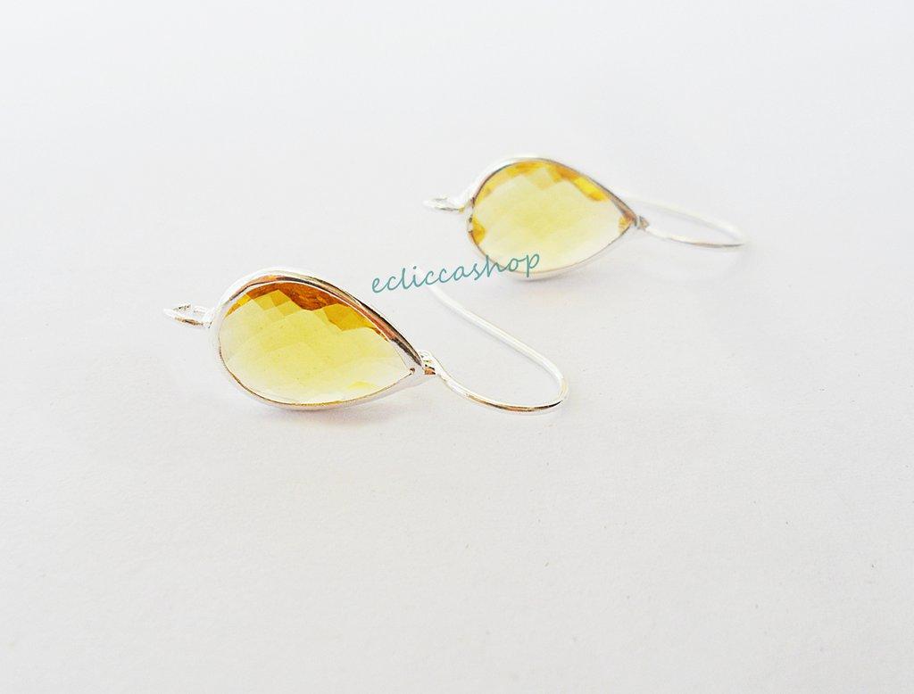 Base orecchini a goccia con mezzo cristallo colore giallo ocra (1 coppia)