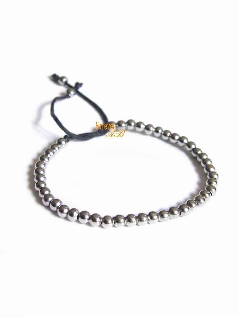 Braccialetto con perline in acciaio su cordino nero idea regalo donna uomo