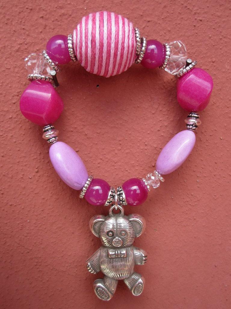 Bracciale elastico pietre rosa e orsetto in argento tibetano