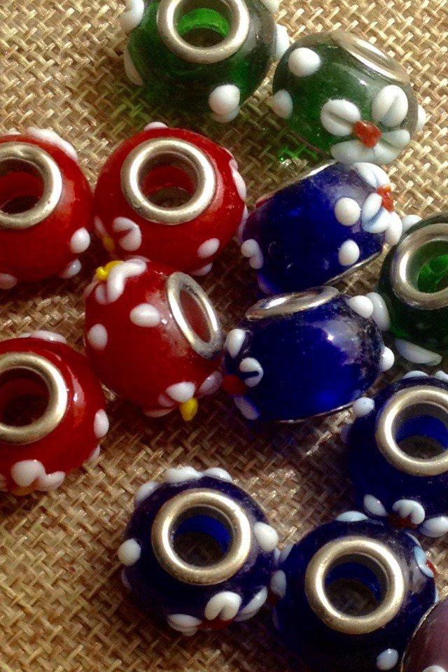 5 perle foro largo in vetro vari colori
